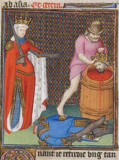 Giovanni Boccaccio, Des cas des nobles hommes et femmes (French translation by Laurent de Premierfait), Paris ca. 1410 (Bibliothèque de Genève, Ms. fr. 190/1, fol. 77r):