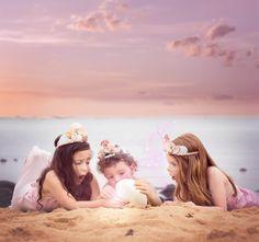 Children photography ideas. Styled session. Mermaid. Beach. DIY mermaid costume. Photoshop editing. Childhood magic