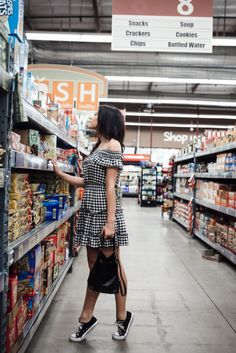 Erin Aschow Fashion Blogger Grocery Store Photoshoot Gingham Dress- cute outfit- women's fashion/ style- black converse