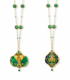 AN ART NOUVEAU JADEITE AND ENAMEL PENDENT NECKLACE    The pendant designed as two carved jadeite plaques of translucent light green ground suffused with bright to intense emerald green splashes, both carved and pierced with a bat and coins, representing the rebus 'fu zai yan qian' or 'luck before your eyes', sliding open to reveal a seated buddha in meditation, enhanced by green and blue enamel and gold lotus flowers top, terminal and back with jadeite beads detail