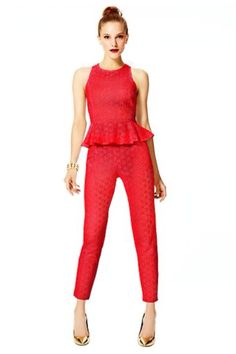 One of my top picks from this week's Fashion Star finale. Lace peplum top and lace cigarette pants. Women's Leggings, Leggings Are Not Pants, Fashion Brands, Fashion Tips, Fashion Design, Lace Peplum, Red Lace, Lace Overlay, Star Fashion