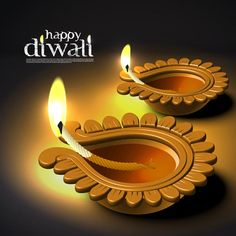 Free Vector of beautiful glowing set of Diwali diya glowing set with Diwali logo and place for text template