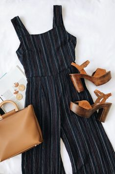 The Moon River Katherine Navy Blue Multi Stripe Backless Jumpsuit is effortlessly chic! Woven fabric with multi-color stripes forms a backless jumpsuit. Spring Outfits, Trendy Outfits, Cute Outfits, Fashion Outfits, Womens Fashion, Backless Jumpsuit, Backless Maxi Dresses, Outfit Goals, Look Fashion