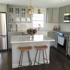 Gray Kitchen with Above The Stove Microwave
