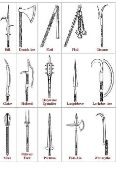 names of medieval weapons - Google Search