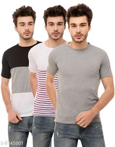 Tshirts Trendy Men's Cotton Blend Tshirts Combo Fabric: Cotton Blend Sleeves: Half Sleeves Are Included Size: S M L XL (Refer Size Chart)  Length: Refer Size Chart Fit: Regular Fit Type: Stitched Description: It Has 3 Pieces of Men's T-Shirts Pattern: Solid Country of Origin: India Sizes Available: S, M, L, XL   Catalog Rating: ★4 (436)  Catalog Name: Stylish Trendy Men's Cotton Blend Tshirts Combo Vol 9 CatalogID_284649 C70-SC1205 Code: 925-2145901-5631