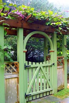 Unique Garden Gates - good idea in place of the small fence we have in the backyard Backyard Gates, Garden Gates And Fencing, Garden Arbor With Gate, Garden Arches, Backyard Pergola, Unique Gardens, Beautiful Gardens, Small Gardens, Beautiful Beautiful
