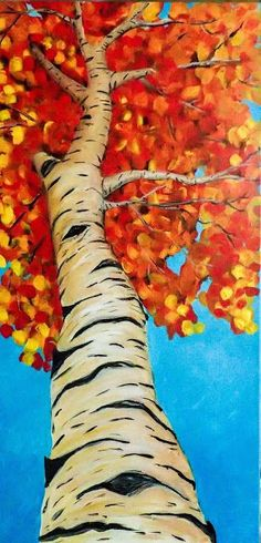 Deliberately Creative Stephanie Bergeron Painting from a tutorial by The Wedding Dress – Frederick W. ElwellPhilly's Young Artist, Lindsay Rapp, On Female…Voici un tableau pour votre vendredi! Fall Canvas Painting, Autumn Painting, Autumn Art, Diy Canvas, Canvas Art, Canvas Ideas, Birch Trees Painting, Birch Tree Art, Canvas Painting Tutorials