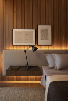 Bedroom Design Idea – An Extra Wide Headboard With Floating Bedside Tables - - Studio recently completed an apartment in Sao Paulo, Brazil, and as part of the bedroom interior, they created an extra wide headboard. Bedroom Bed Design, Bedroom Furniture Design, Modern Bedroom Design, Furniture Ideas, Modern Bedrooms, Bedroom Decor, Interior Design For Bedroom, Interior Lighting Design, 60s Bedroom