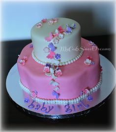 Butterflies and Flowers Baby Shower Cake