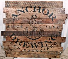 Rustic Anchor Brewing Company Wood Sign, Hand Painted Beer Logo on Pallet Wood, by Scrapwork Designs, vintage look