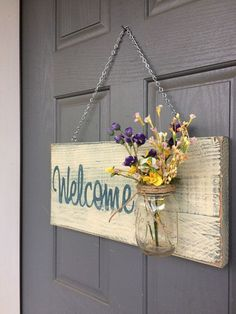 Rustic Outdoor Welcome Sign in blue/white Mothers di RedRoanSigns