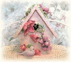 Shabby Chic Birdhouse Unique Birdhouse Decorative by afloralaffair, $35.00