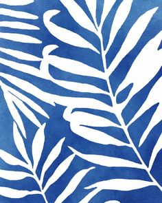 Blue and White Palm Leaf Set of 2 Prints | Etsy