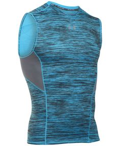 Compression fit, moisture-wicking HeatGear fabric and CoolSwitch technology: This sleeveless T-shirt from Under Armour has what it takes for tough workouts. Compression Clothing, Compression T Shirt, Best Minimalist Running Shoes, Sport Shirt Design, Crossfit Clothes, Mens Activewear, Under Armour Men, Sport Wear, Sports Shirts