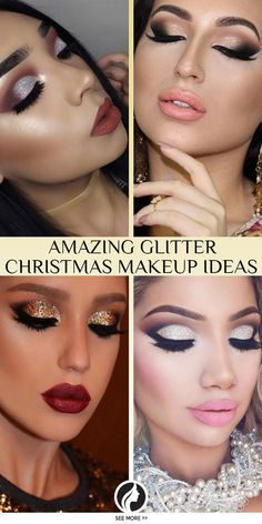 Christmas Makeup Is Always Sparkly And Mesmerizing on Beautiful Makeup Photos 5746 Glam Makeup Look, Pink Makeup, Glitter Makeup, Beauty Makeup, Makeup Looks, Christmas Makeup Look, Holiday Makeup, Weihnachten Make-up, Beauty Haven