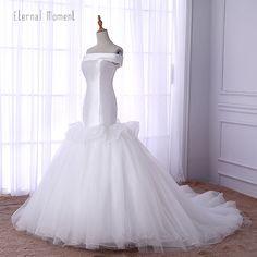2018 New Arrival Wedding Bridal Dresses Sexy Mermaid Ruched Boat Neck Lace Up Bridal Gown Vestido De Casamento