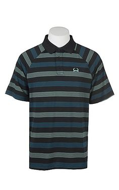 e26faf16 Cinch Men's ArenaFlex Black with Green and Blue Stripes Short Sleeve Polo  Shirt   Cavender's Stylish