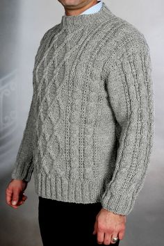 SALE Gray Sweater unisex XL mens knit by Initasworks on Etsy, $168.00