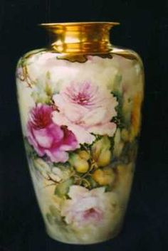China Painting Teachers | Rose porcelain lamp china painting study by porcelain artist, Phyllis ...