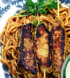 Pork Satay with Spicy Peanut Noodles