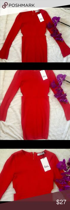 """NWT ZARA KNITWEAR COLLECTION SEXY RED BODYCON MINI This dress is sure to give you some 'dayummms' It's sexy yet classy.  With its cut outs on the sides and the flare sleeves makes this dress a one of a kind!    Length- 32"""" Waist 12"""" Pit to Pit 13.5"""" Zara Dresses Long Sleeve"""