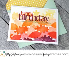 Autumn birthday card with an ombre pile of stamped leaves [CASual Fridays: Autumn Blessings, Shenanigans] Giant Card, Leaf Images, Fall Birthday, Die Cut Cards, Pretty Cards, Fall Decor, Birthday Cards, Birthdays, Paper Crafts