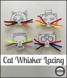 Cat's Whiskers Lacing Busy Bag - Your Therapy Source - Cat's Whiskers Lacing for fine motor practice! A fun way to work on fine motor activities with to - Art Therapy Activities, Animal Activities, Motor Activities, Toddler Activities, Visual Perceptual Activities, Toddler Preschool, Toddler Crafts, Physical Activities, Cat Activity