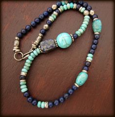 Beaded Gemstone Necklace  Turquoise and Dark Blue by prayerfeather, $32.00