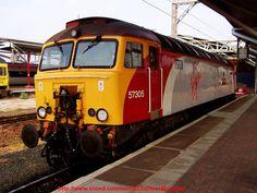 'Virgin Trains' Class 57305 Diesel Locomotive Photo, at Rugby station, England  #trains #uk #virgintrains #class58 #locomotive #diesellocomotives #britainsrailways #englishtrains #britishtrains #railway