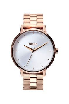 **Nixon Kensington Rose Gold Watch with White Dial