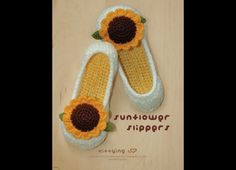 Sunflower Damen Haus Slipper Häkelanleitung made by Kittying Crochet Pattern via DaWanda.com