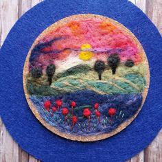 Romantic wool painting sunset art wool felt wall hanging