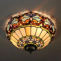Tiffany-Style 16 In Wide Flush Mount Ceiling Fixture in Baroque Style, Multicolored, Fashion Style Tiffany Lights Moroccan Colors, Moroccan Theme, Dining Room Lighting, Bedroom Lighting, Ceiling Fixtures, Ceiling Lights, Flush Mount Ceiling, Baroque Fashion, Fashion Lighting