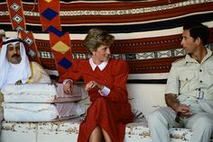 On November 14,1986, Diana, Princess of Wales dressed very conservative while on a Gulf Tour in Qatar. She chose a long sleeved, high neck dress with a longer length skirt.