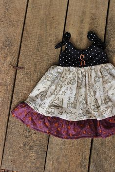 Monogrammed Halloween Dress preemie knot dress by plainjanesstore, $18.50