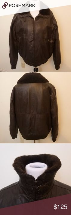 Vtg Members Only Leather Bomber Jacket, Size 42 This is a brown leather bomber jacket with a faux fur collar.  The interior is fully quilted so it is more of a winter coat.  There are 2 front slash zip pockets and 1 interior pocket.  You can zip the coat all the way and buckle the neck to keep warm.  There is minor wear on the leather around the cuffs (see pics).  Other than that, I am not aware of any stains or holes.  The coat is made of: Outer shell-genuine leather, Lining-49% Nylon, 51%…