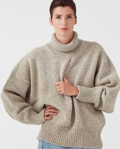 jumper woman no17 mist | babaà Winter Jumpers, Jumpers For Women, Cold Weather, Mists, Knitwear, How To Make, How To Wear, Men Sweater, Turtle Neck