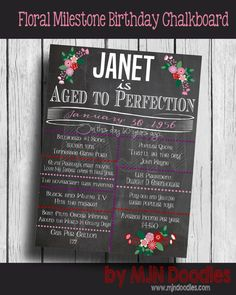 Modern Floral Adult Birthday Chalkboard, Milestone Board, On This Day, Pop Culture, Photo Prop, Centerpieces, 40th Birthday Decorations,