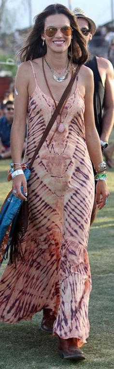 Who made Alessandra Ambrosio's pink tie dye maxi dress?
