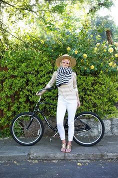 striped tee + white skinny jeans + leather sandals + wide-brim straw hat + striped scarf