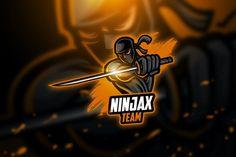 Ninja - Mascot & Esport Logo by aqrstudio on Envato Elements Team Logo Design, Logo Design Template, Logo Templates, Sport Design, Coreldraw, Ninja Logo, Logo Psd, Envato Elements, Esports Logo