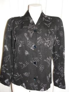 Chicos Design Black White Love Hearts Button Down Shirt Top Silk Linen Size 0 S…