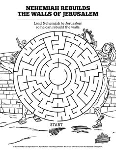 Book Of Nehemiah Bible Mazes Can Your Kids Lead Through This Maze To Fulfill