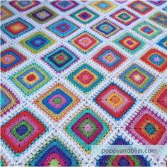 crochet motifs | poppyandbliss Crochet Squares Afghan, Crochet Quilt, Afghan Crochet Patterns, Crochet Home, Baby Blanket Crochet, Crochet Motif, Crochet Designs, Free Crochet, Crochet Granny
