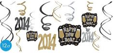Black, Gold & Silver 2014 New Years Hanging Swirl Decorations 12ct