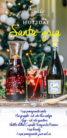 Rich with apple, pomegranate, fig and a splash of Cupcake Prosecco, our Holiday Santa-gria is the perfect new tradition.   To make: Fill a large pitcher halfway with ice. Add 1 C pomegranate seeds,1 large apple (cut into thin wedges), and 5 figs (cut into quarters). Top with 2 C pomegranate juice, 1 C brandy and 1 bottle chilled Cupcake Vineyards Prosecco. This recipe serves 6 and is best when served cold. #TREATTODAY