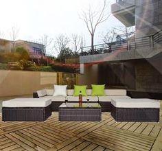 [GBP £569.99]6 Pc Rattan Garden Sofa Set in Brown Colour