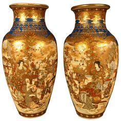 Satsuma, Nice Pair Of Meiji Period Vases.