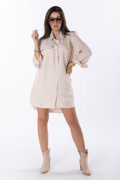 VEĽKOSTNÁ TABUĽKAVeľkosťObvod hrudníkaCelková dĺžkaUNI128,0087,00 Beige, Shirt Dress, Shirts, Dresses, Products, Fashion, Vestidos, Moda, Shirtdress